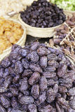 Sweet dates in a market. Detail of a traditional food market, antique store Royalty Free Stock Image