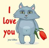 Sweet Declaration of love. the cat holds in its paws a flower. Vector illustration Stock Image