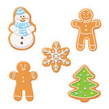 Sweet decorated new year gingerbread cookies icons set. Christmas tree and snowflake, ginger man, snowman. Sweet decorated new year gingerbread cookies icons Royalty Free Stock Photography
