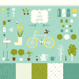Sweet decorative garden set for scrap-booking art. Royalty Free Stock Photography