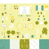 Sweet decorative garden set for scrap-booking art. Garden related silhouette icons and seamless patterns set for your design royalty free illustration