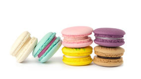 sweet delicacy macaroons variety closeup. Macaroons on white background royalty free stock photos