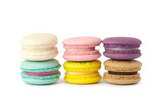 sweet delicacy macaroons variety closeup. Macaroons on white background royalty free stock images