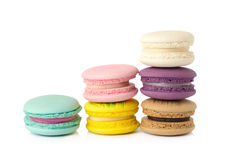 sweet delicacy macaroons variety closeup. Macaroons on white background royalty free stock photo