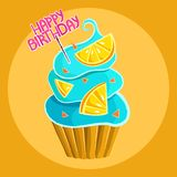 Cupcake with blue cream citrus slices and pink happy birthday lettering vector illustration
