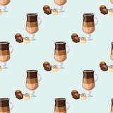Sweet delicious candies coffee cup morning bakery seamless pattern dessert pastry fresh drink cappuccino vector Royalty Free Stock Photography