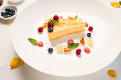 Sweet delicious cheesecake recipe. Concept. food photography. confectionery art Stock Photo