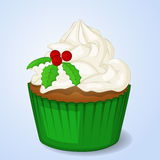 Sweet and delicious Christmas cupcake for New Year design. Simple cartoon style. Vector illustration. New Year Collection Royalty Free Stock Photo