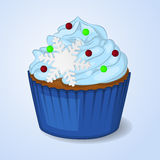 Sweet and delicious Christmas cupcake for New Year design. Simple cartoon style. Vector illustration. New Year Collection Royalty Free Stock Photography