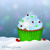 Sweet and delicious Christmas cupcake in snow. Winter Goodies. Simple cartoon style.. Vector illustration. New Year Collection Royalty Free Stock Image