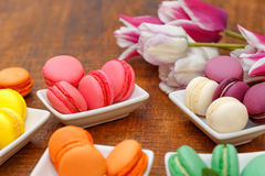 Sweet and delicious colourful macaroons - macaron Stock Images