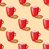 Sweet delicious cracker coffee cup morning bakery seamless pattern dessert pastry fresh drink cappuccino vector Royalty Free Stock Images