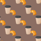 Sweet delicious croissant coffee cup morning bakery seamless pattern dessert pastry fresh drink cappuccino vector Royalty Free Stock Photos