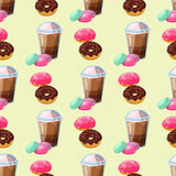 Sweet delicious macaroons coffee cup morning bakery seamless pattern dessert pastry fresh drink cappuccino vector Stock Photography