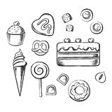 Sweet delicious pastry, bakery and dessert sketch Royalty Free Stock Images