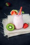 Sweet and delicious strawberry milkshake Stock Photo