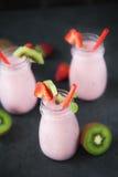 Sweet and delicious strawberry milkshake Stock Photos