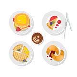 Sweet delicious - waffles, chocolate, pancakes and coffee cup. Vector. Breakfast food. Tasty icon set. Isolated. Royalty Free Stock Photos