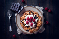 Sweet and delicious waffles with fruits Stock Photo