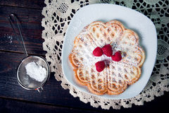Sweet and delicious waffles with fruits Stock Image