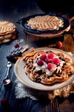 Sweet and delicious waffles with fruits Royalty Free Stock Image
