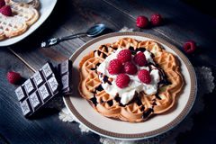 Sweet and delicious waffles with fruits Royalty Free Stock Photo