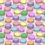 Sweet delicious watercolor pattern with macarons. Hand-drawn background.  illustration on pink Stock Photos