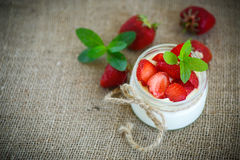Sweet delicious  yogurt with fresh strawberries Stock Photography