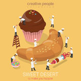 Sweet desert bakery muffin croissant flat vector isometric 3d Stock Images