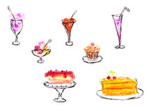 Sweet deserts - hand drawing Stock Image