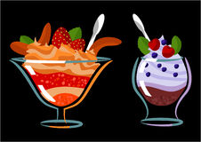 Sweet dessert. Jelly, ice cream, caramel and fruit Royalty Free Stock Photography