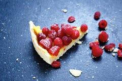 Sweet Dessert, A Slice Of Cake With Raspberries Stock Photo