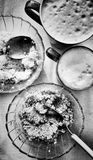 Sweet dessert.  Artistic look in black and white. Royalty Free Stock Photo