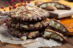 Sweet dessert for autumn season, Dutch filled cookies with marzipan and almonds stock images