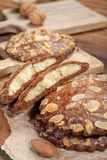 Sweet dessert for autumn season, Dutch filled cookies with marzipan and almonds stock image