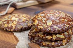 Sweet dessert for autumn season, Dutch filled cookies with marzipan and almonds stock photography