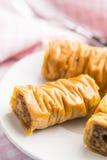 Sweet dessert baklava. On white dessert plate Stock Photography