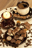 Sweet dessert : black coffee and chocolate Royalty Free Stock Photography