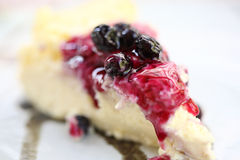 Sweet dessert Blueberry cheese cake in macro Royalty Free Stock Photo