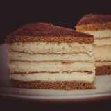 Sweet dessert cakes. On the plate royalty free stock image