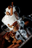 Sweet dessert with chocolate, cocoa, nuts and whipped cream Royalty Free Stock Photography