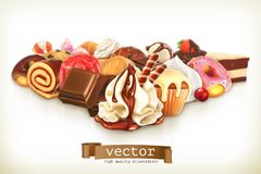 Sweet dessert with chocolate. Confectionery vector illustration Stock Photos