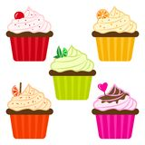 Colorful set of fruit cupcakes. Vector illustration vector illustration