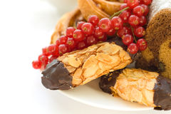 Sweet dessert: cookies and berry Royalty Free Stock Image