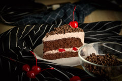 Sweet dessert delicious black forest cake cherry chocolate decor Stock Photography