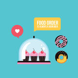 Sweet dessert Delicious cute cupcakes and donuts Fast food banner. Sweet dessert Delicious cute cupcakes and donuts Fast food menu Vector illustration Royalty Free Stock Photo