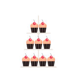 Sweet dessert Delicious cute cupcakes set isolated on white background Stock Photos