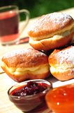 Sweet dessert: donuts with jam fillings Stock Photography