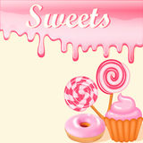 Sweet dessert food frame background glaze stains. Pink candies, Royalty Free Stock Images