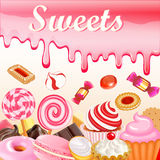 Sweet dessert food frame background glaze stains. Pink candies, Stock Photos